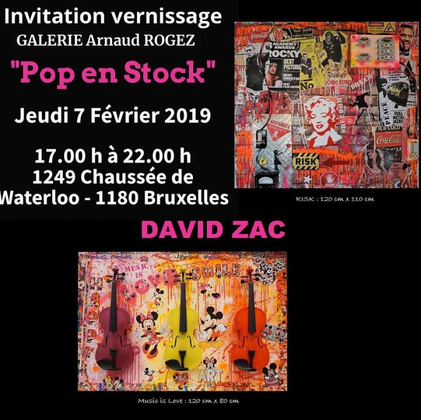 "EXPOSITION DAVID ZAC  ""POP EN STOCK"" A BRUXELLES A PARTIR DU 07/02/2019"
